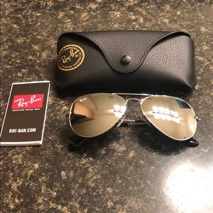 Auth Silver Aviator Ray-Bans Small Size